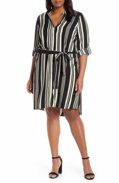 e2afd9289f Estelle Marnie Stripe Long Sleeve Shirtdress (Plus Size)