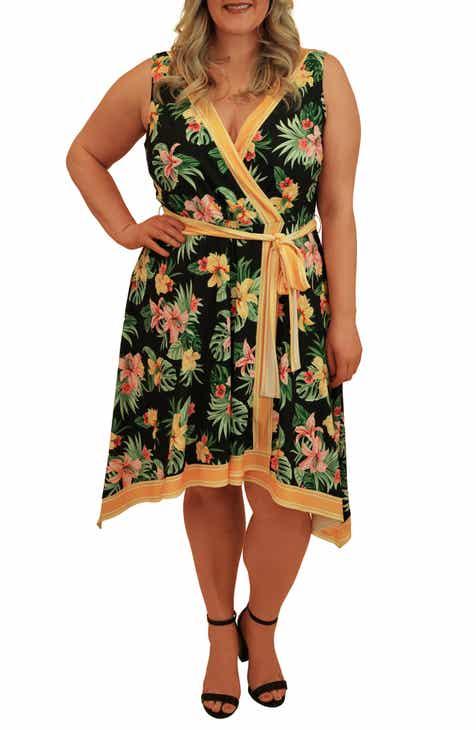 Marée Pour Toi Faux Wrap Handkerchief Dress (Plus Size)