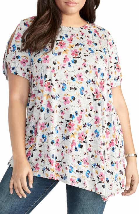 3989b762e1b05 RACHEL Rachel Roy Ditzy Floral Slit Sleeve Tee (Plus Size)
