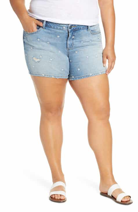 8948909dfc SLINK Jeans Embroidered Daisy Denim Shorts (Plus Size)