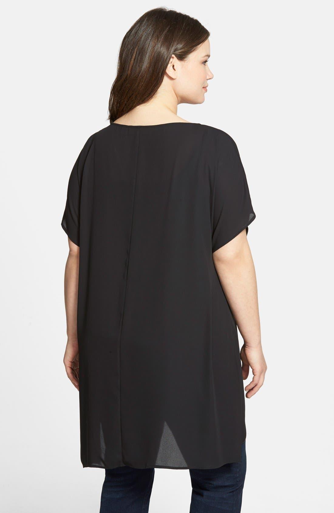 Alternate Image 2  - Sejour Short Sleeve Asymmetrical Tunic (Plus Size)