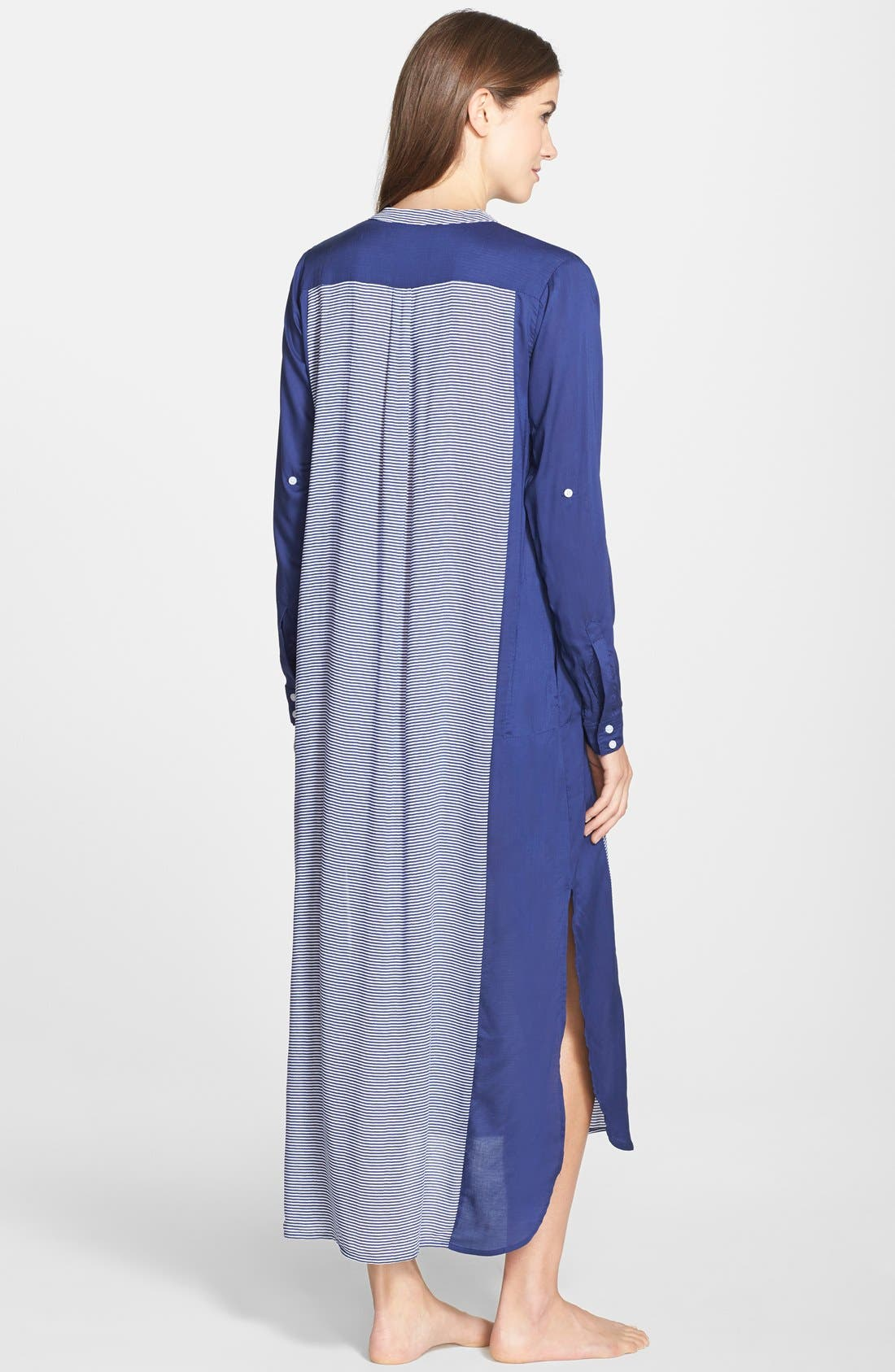 Colorblock Long Sleeve Woven Caftan,                             Alternate thumbnail 2, color,                             Blue Stripe