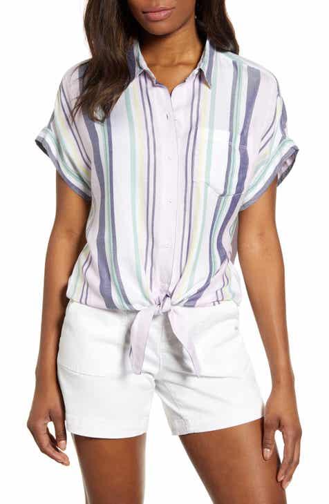 beachlunchlounge Brooklyn Stripe Tie Front Shirt