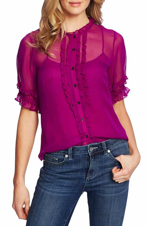 Best  CeCe Ruffle Button Front Chiffon Blouse Comparison
