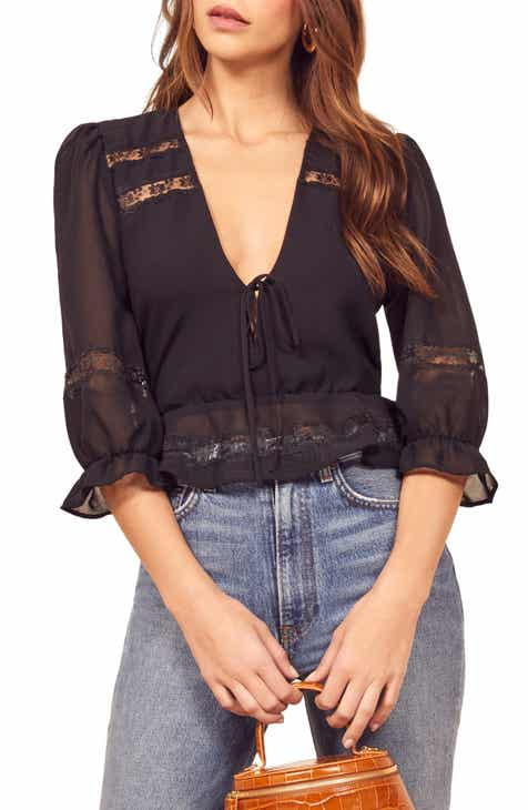 Reformation Emily Lace Inset Blouse
