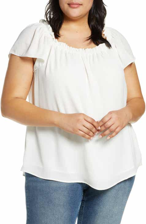 de1fbbf45b101 CeCe Ruffle Neck Top (Plus Size).  69.00. Product Image. BLACK