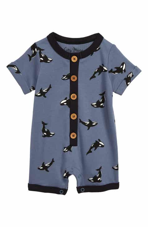 db94d757af2a City Mouse Orca Roll Sleeve Organic Cotton Romper (Baby)