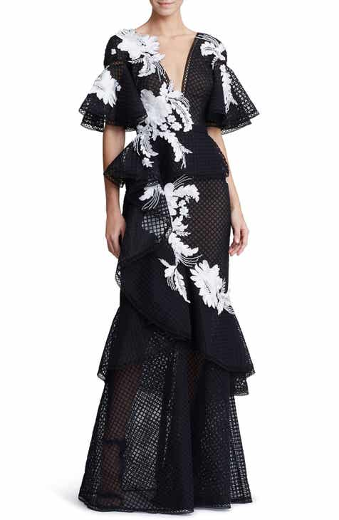 d1c3d71d Marchesa Embroidered V-Neck Ruffle Gown