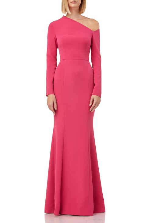 8516a951e18 Kay Unger Asymmetrical Neck Long Sleeve Mermaid Gown