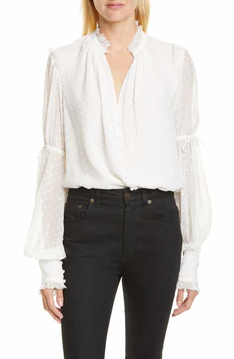 Jonathan Simkhai Dot Embroidered Gathered Sleeve Chiffon Bodysuit
