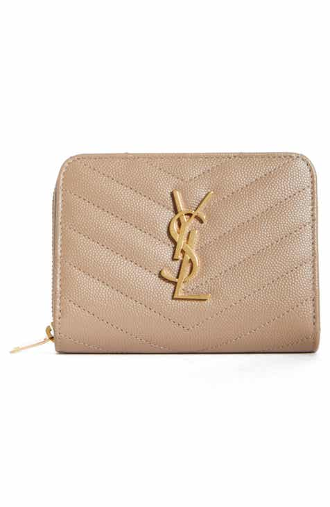 a3ff14f8c0 Saint Laurent Monogramme Compact Quilted Zip Around Wallet