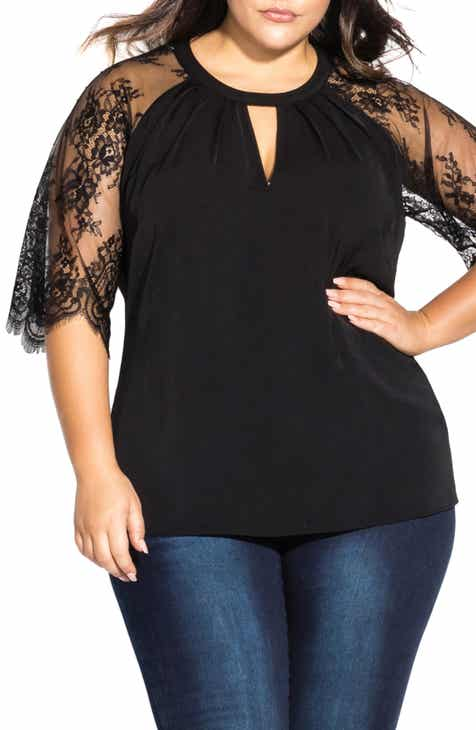 5462405b464 City Chic Lace Sleeve Top (Plus Size)