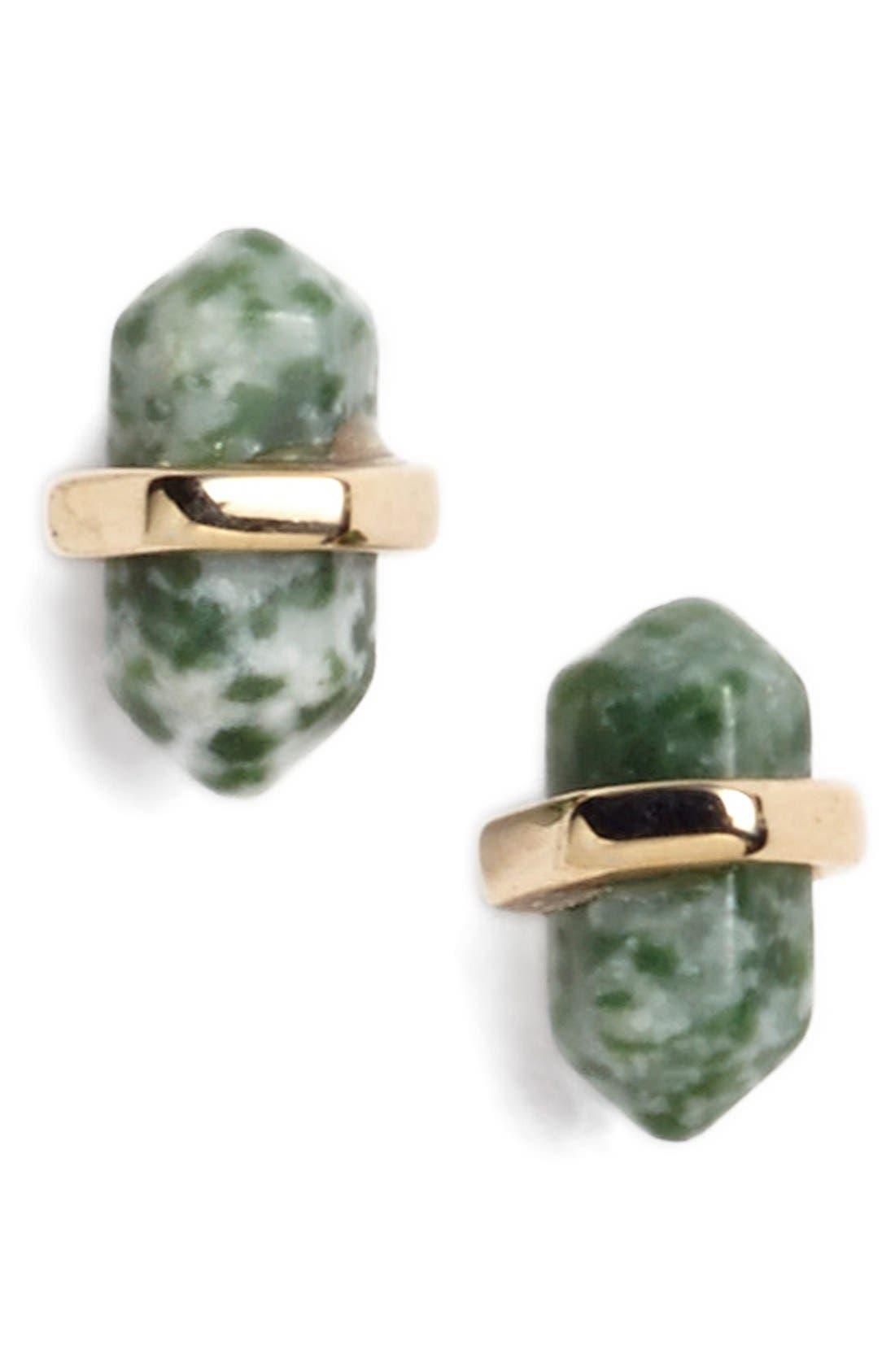Semiprecious Stone Stud Earrings,                         Main,                         color, Shiny Gold/ Jade