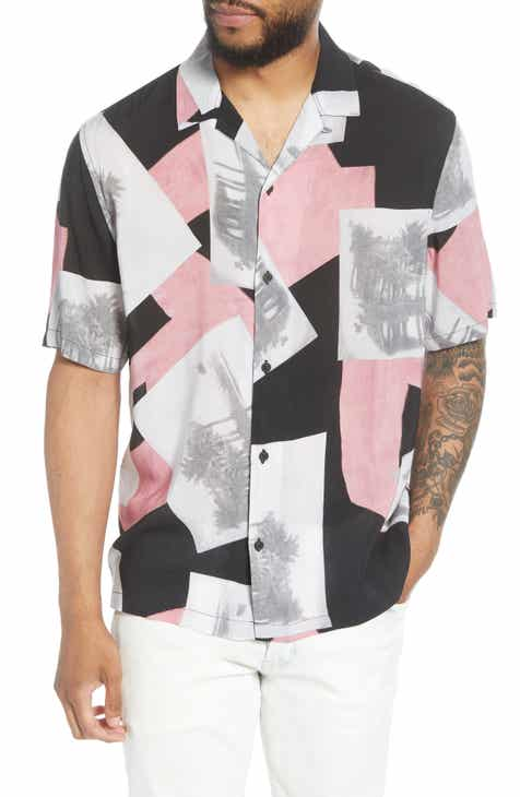 ALLSAINTS Livinston Patterned Short Sleeve Button-Up Camp Shirt