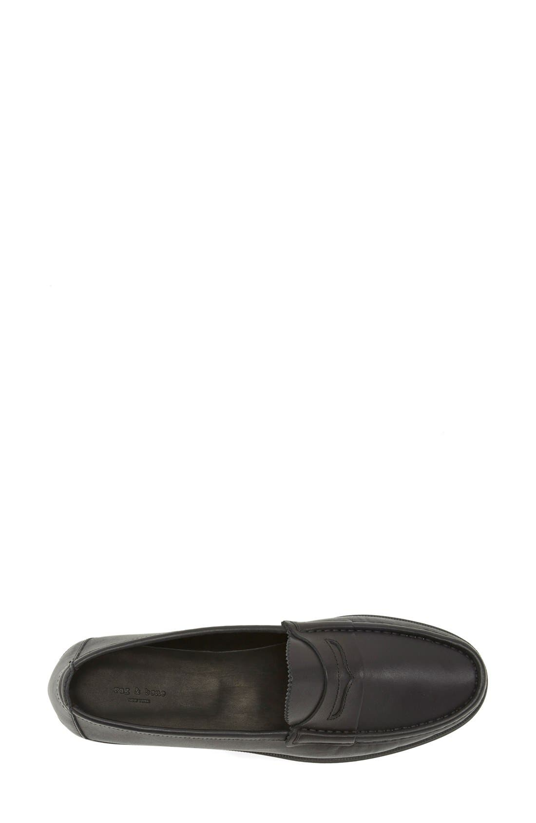'Tanya' Penny Loafer,                             Alternate thumbnail 3, color,                             Black Leather