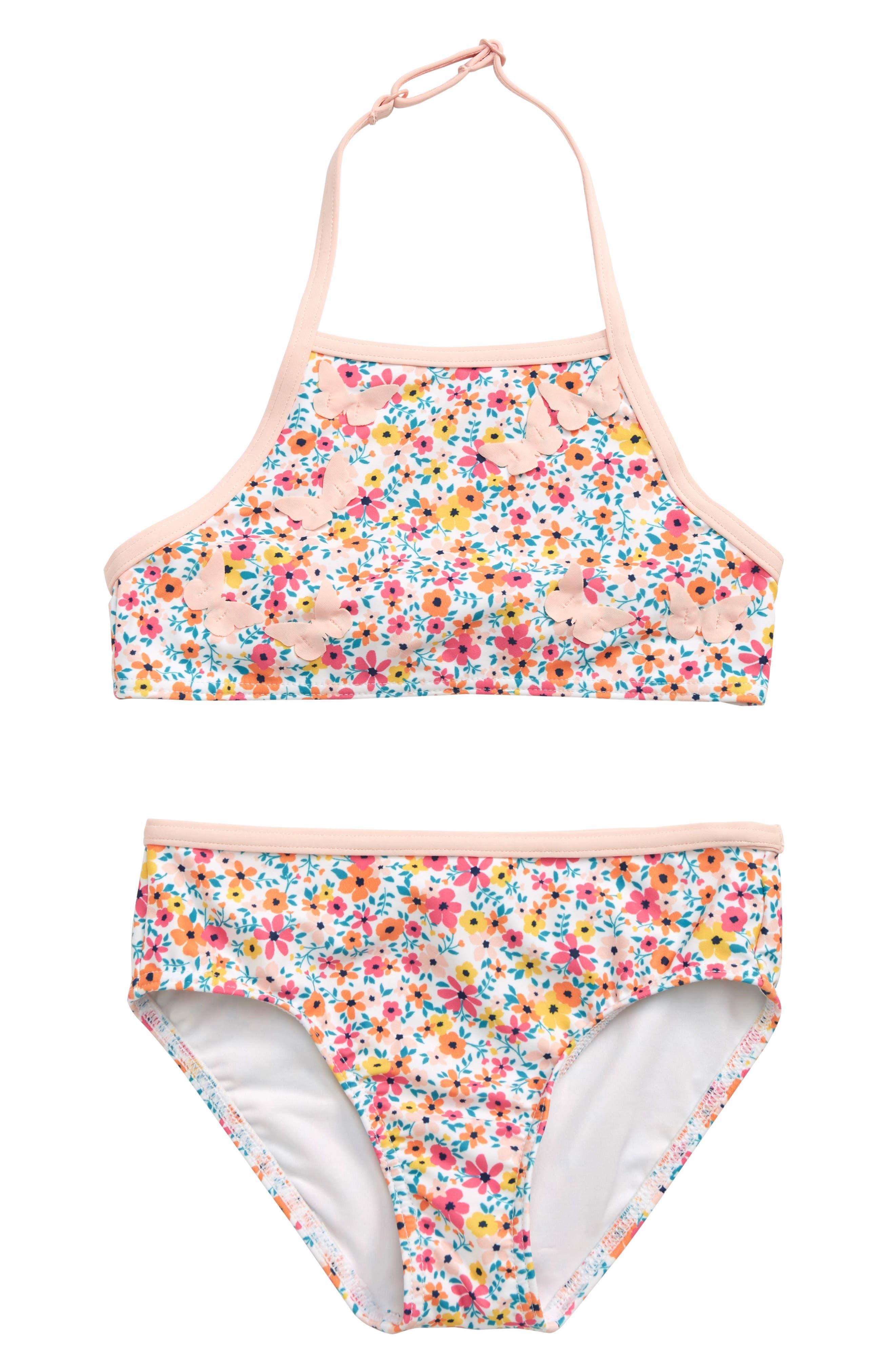Flamingo Baby Girls Tankini Swimwear Children Girl Ruffles Two Pieces Bikini Set Toddler Girls European And American Bath Suit Swimwear