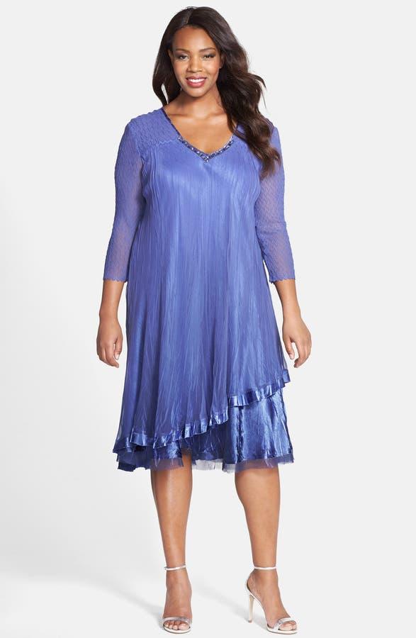 Komarov Embellished V Neck Tiered Chiffon A Line Dress Plus Size