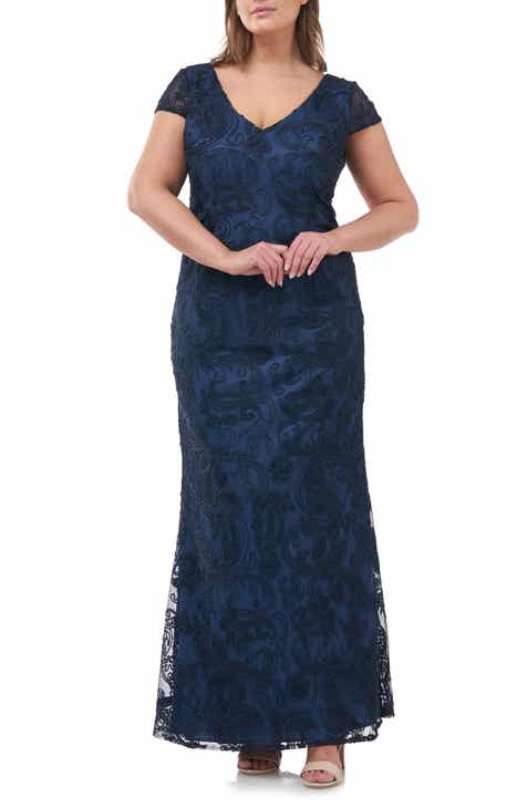1345e9b31 JS Collections Soutache Embroidered V-Neck Trumpet Gown (Plus Size)