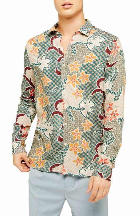 1714c99a3 Topman Slim Fit Floral Tile Print Viscose Button-Up Shirt
