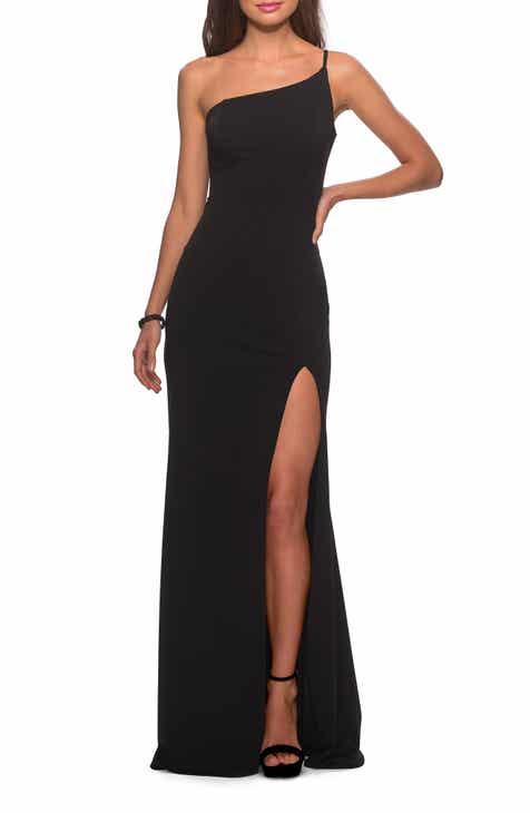 Special Offer La Femme One-Shoulder Jersey Gown