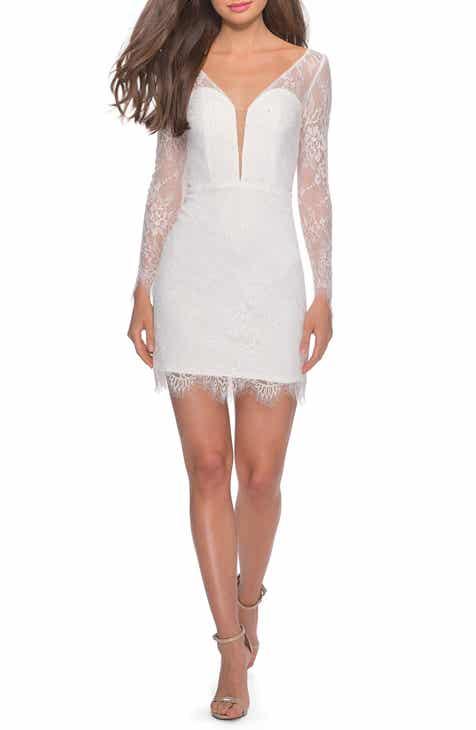Find La Femme Long Sleeve Lace Cocktail Dress Savings