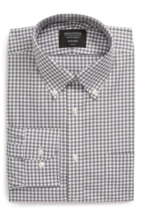 Nordstrom Men's Shop Trim Fit Non-Iron Gingham Button-Down Dress Shirt