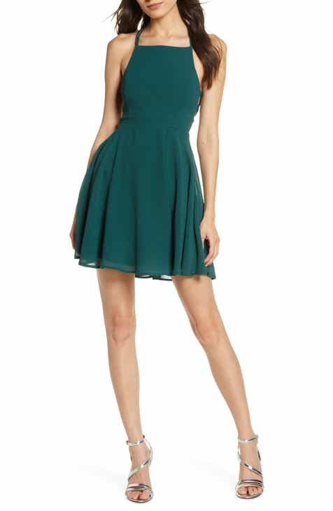 4129cab46 Lulus Good Deeds Lace-Up Skater Dress