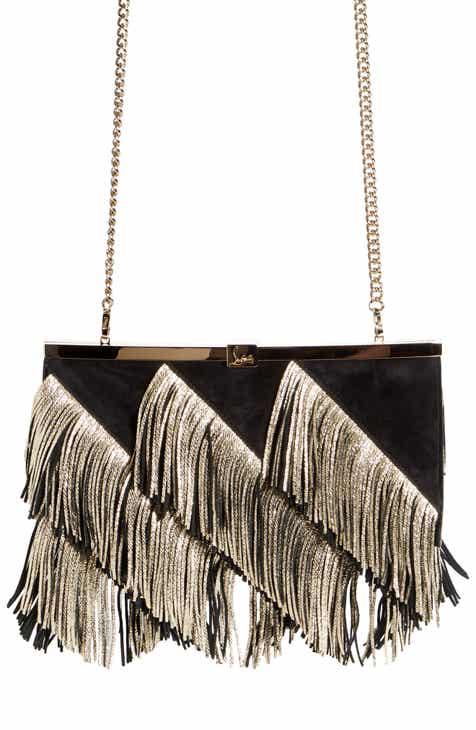 692e391dac1 Christian Louboutin Palmette Fringe Leather Clutch