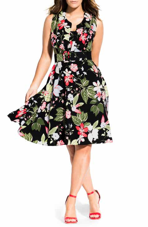 f50dddeb8 City Chic Floral Print Fit & Flare Dress (Plus Size)