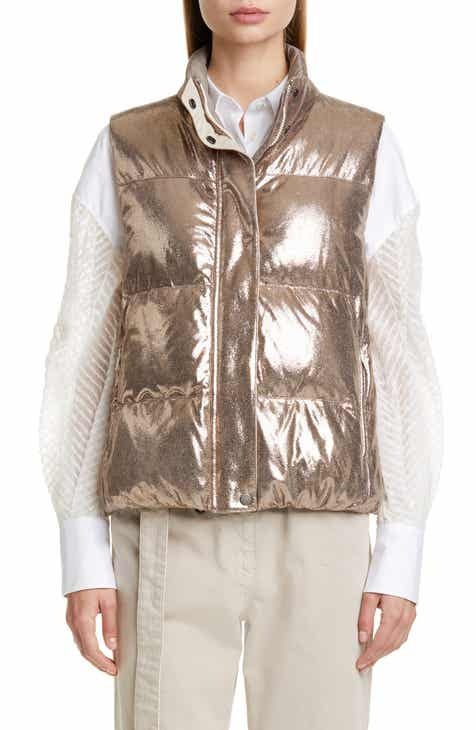 a95011282c5 Brunello Cucinelli Reversible Sparkle Leather Down Puffer Vest