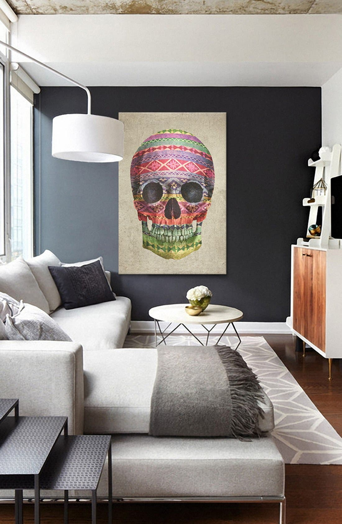 Alternate Image 2  - iCanvas 'Skull - Terry Fan' Giclée Print Canvas Art