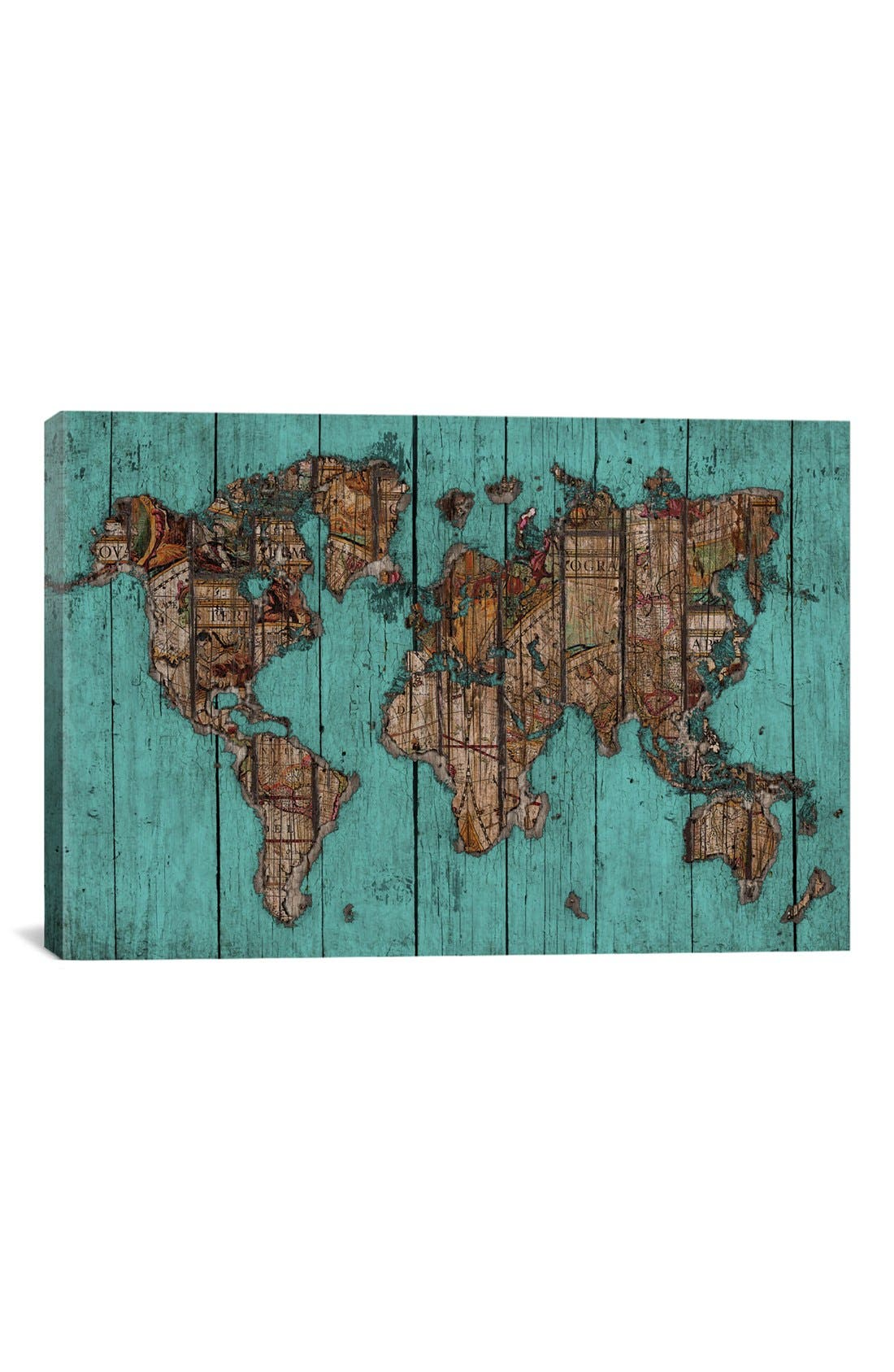 'Wood Map #2 - Diego Tirigall' Giclée Print Canvas Art,                             Main thumbnail 1, color,                             Blue/ Green