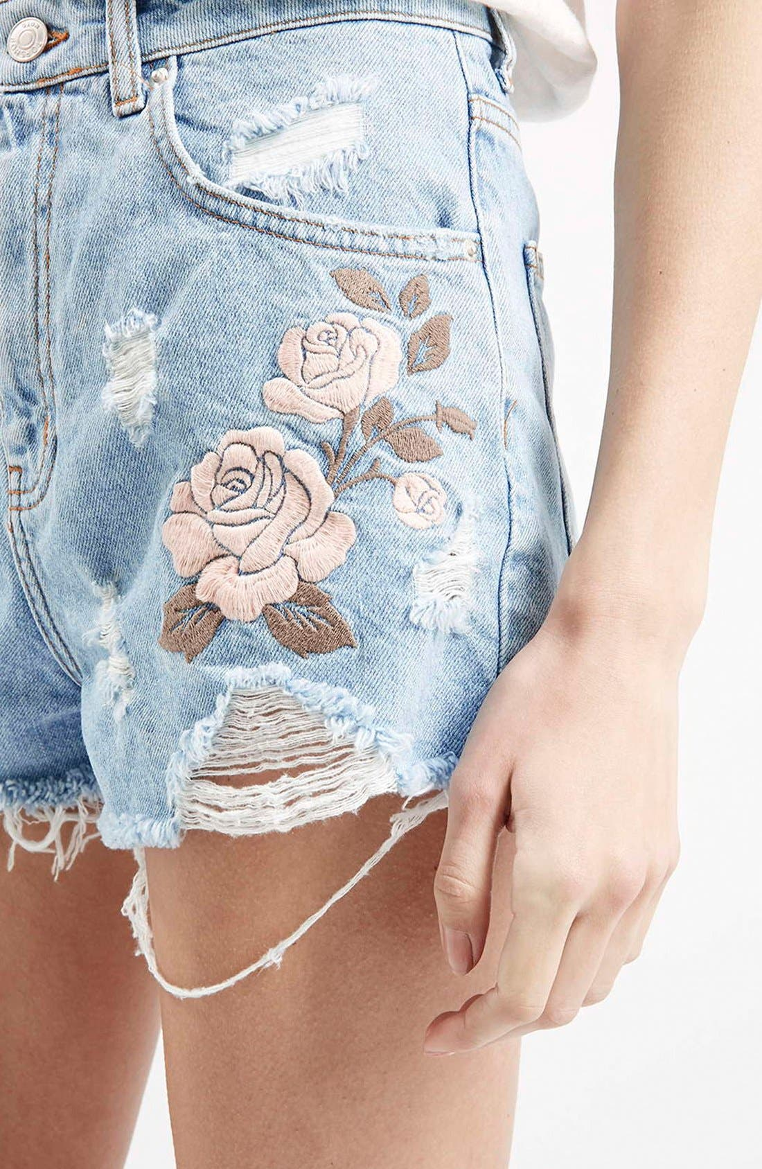 Alternate Image 4  - Topshop Moto Floral Embroidered Cutoff Denim Shorts (Light Denim)