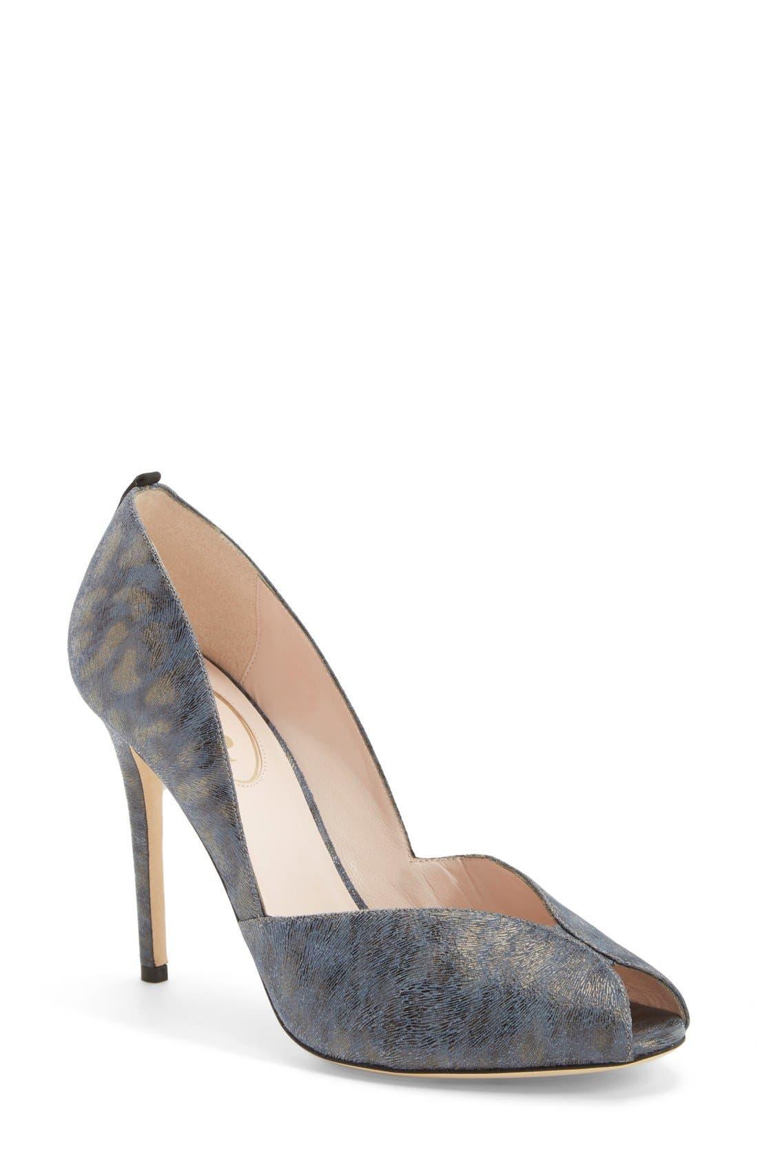 'Naomi' Peep Toe Pump,                             Main thumbnail 1, color,                             Blue Leopard Leather