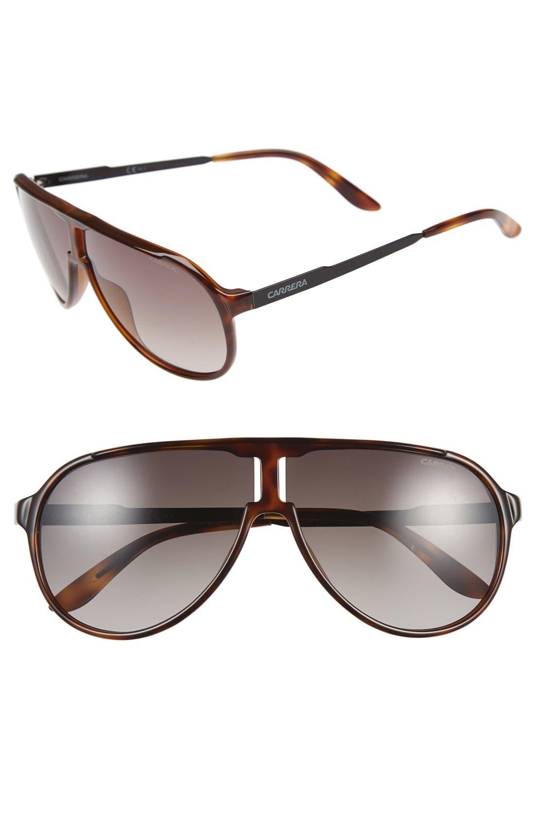 62mm Aviator Sunglasses,                         Main,                         color, Havana Black/ Brown Gradient