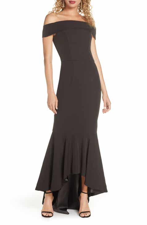 Chi Chi London Shirley Off the Shoulder High/Low Evening Gown