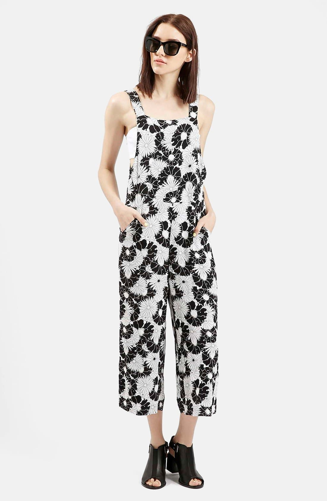 Alternate Image 1 Selected - Topshop Floral Pinafore Jumpsuit