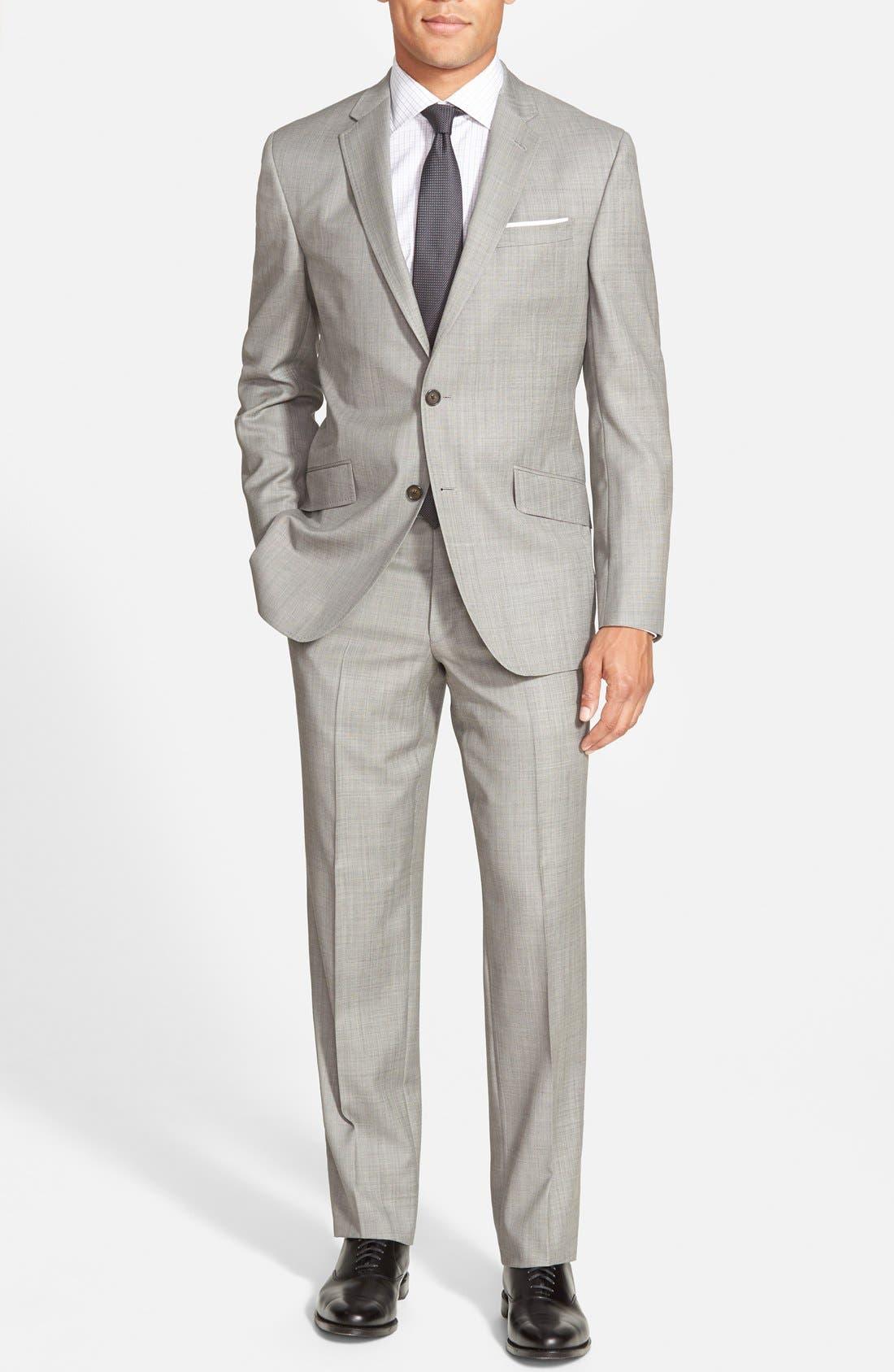 Jones Trim Fit Wool Suit,                             Main thumbnail 1, color,                             Medium Grey