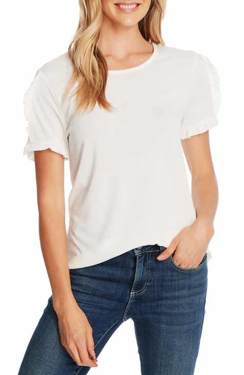 CeCe Ruffle Trim Crepe Top