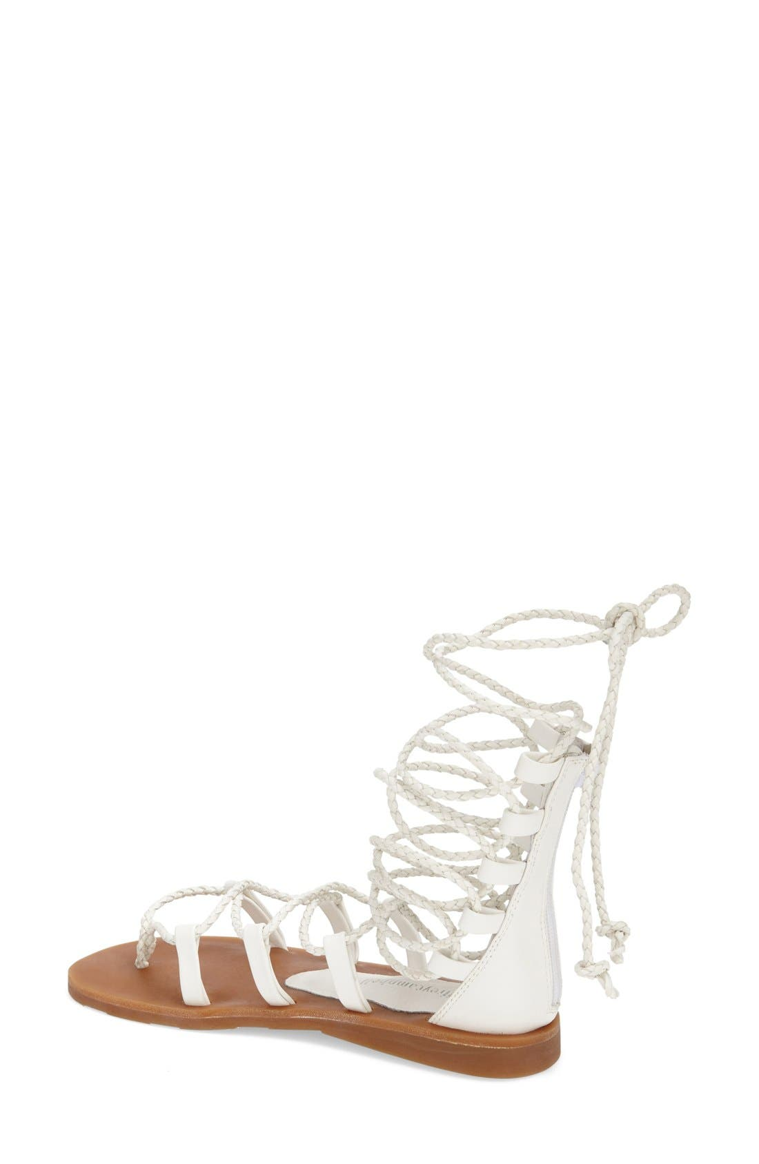 'Hola' Lace-Up Gladiator Sandal,                             Alternate thumbnail 2, color,                             White
