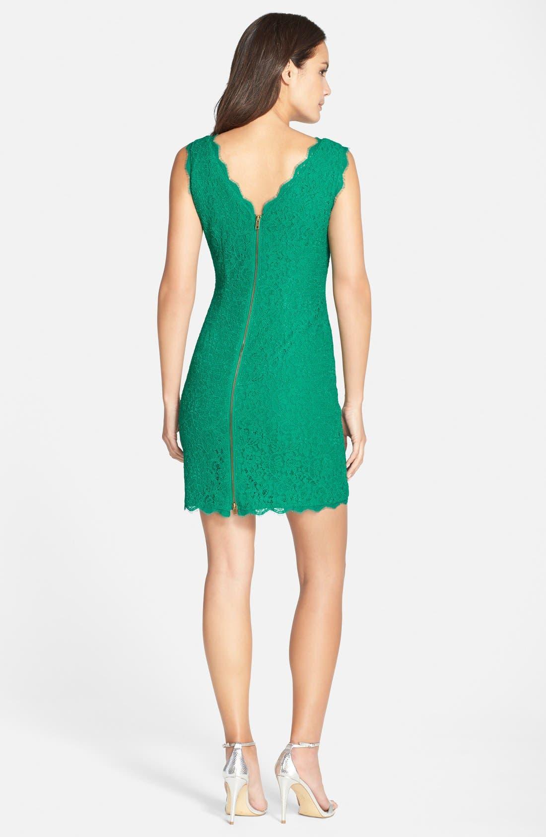 Alternate Image 2  - Adrianna Papell Boatneck Lace Sheath Dress (Regular & Petite)