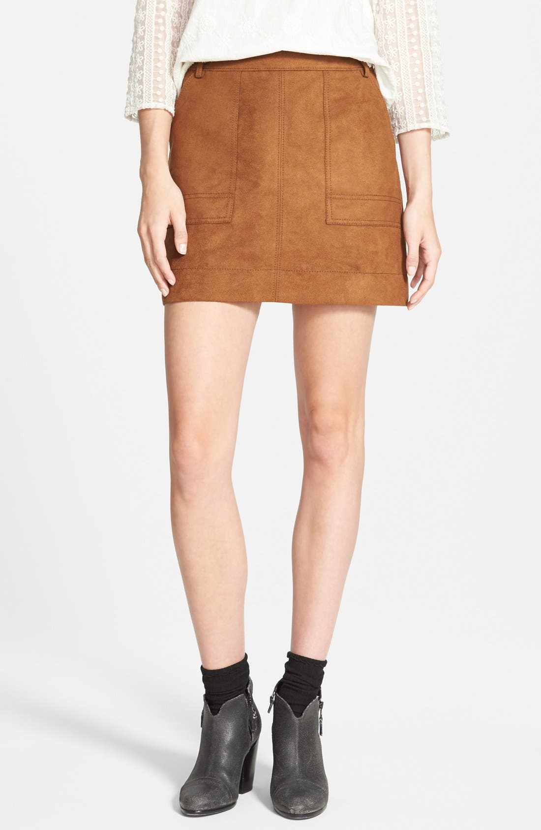 Faux Suede A-Line Miniskirt,                         Main,                         color, Brown Toffee