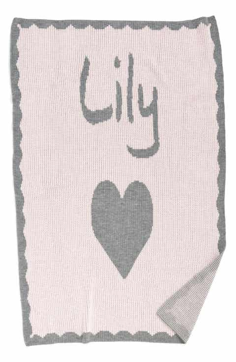 Baby blankets quilts receiving swaddling nordstrom butterscotch blankees heart personalized crib blanket negle Images