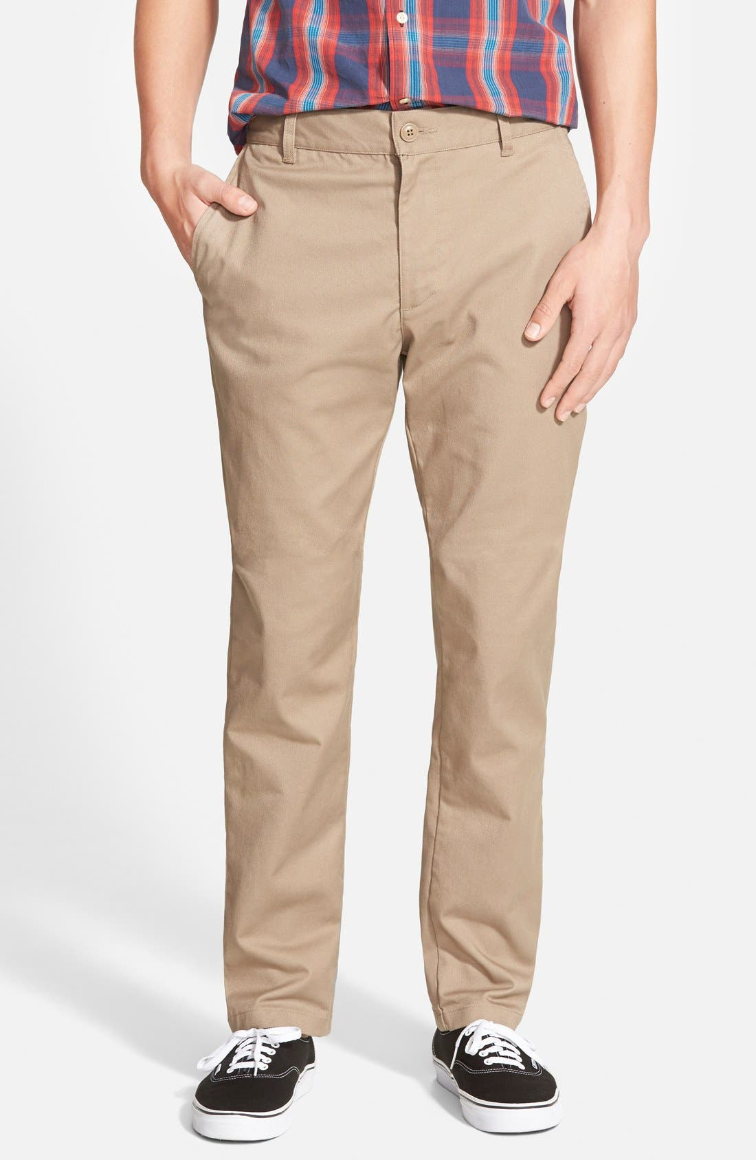 Main Image - RVCA 'The Week-End' Slim Straight Leg Stretch Twill Chinos (Online Only)