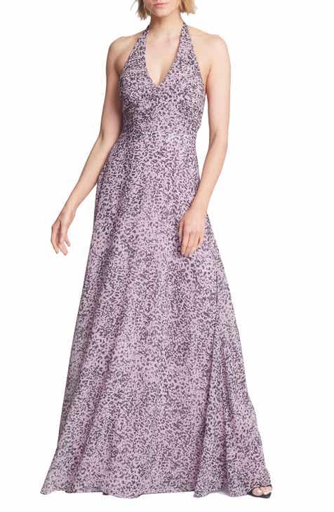 Halston Heritage Pleated Halter Gown