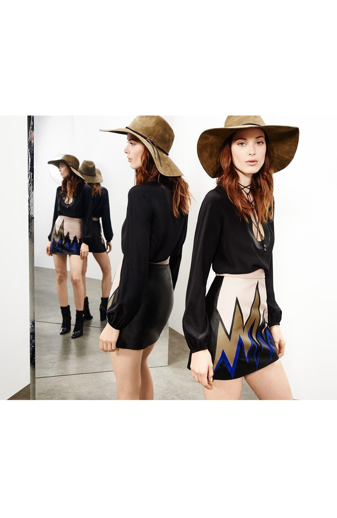 Alternate Image 5  - Emilio Pucci Leather Trim Lace-Up Neck Silk Shirt