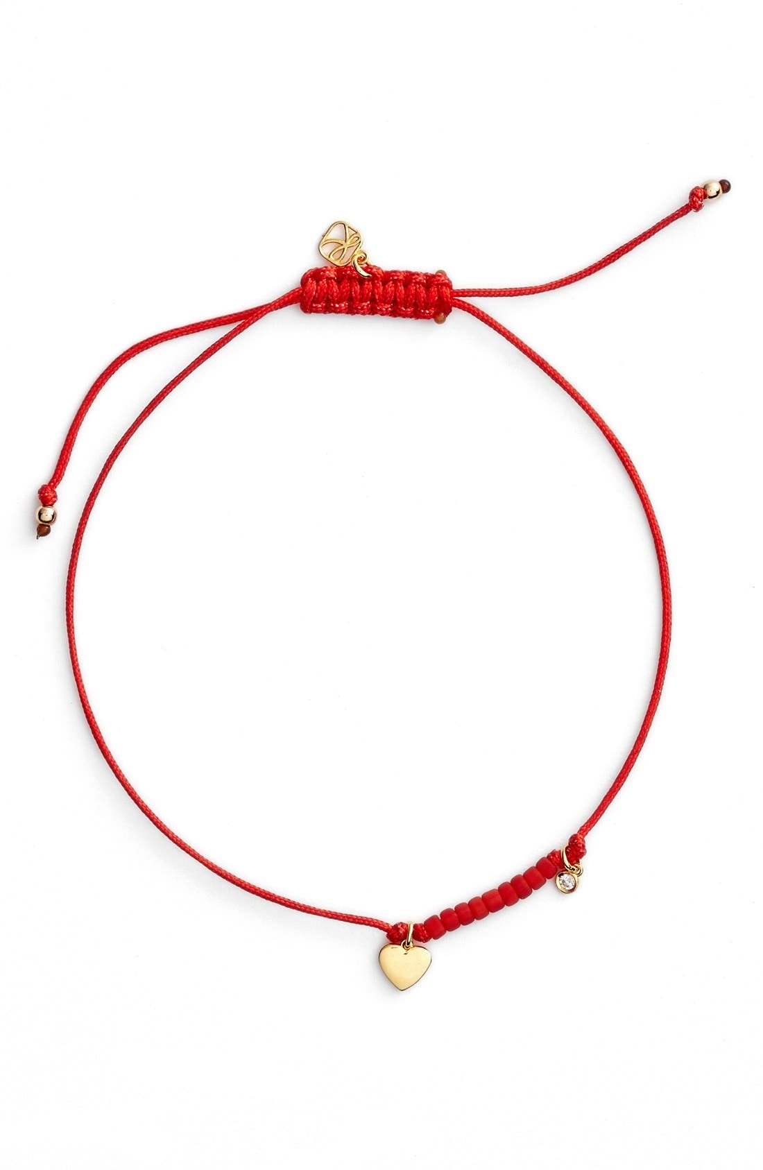 Diamond & Charm Friendship Bracelet,                             Main thumbnail 1, color,                             Gold/ Red