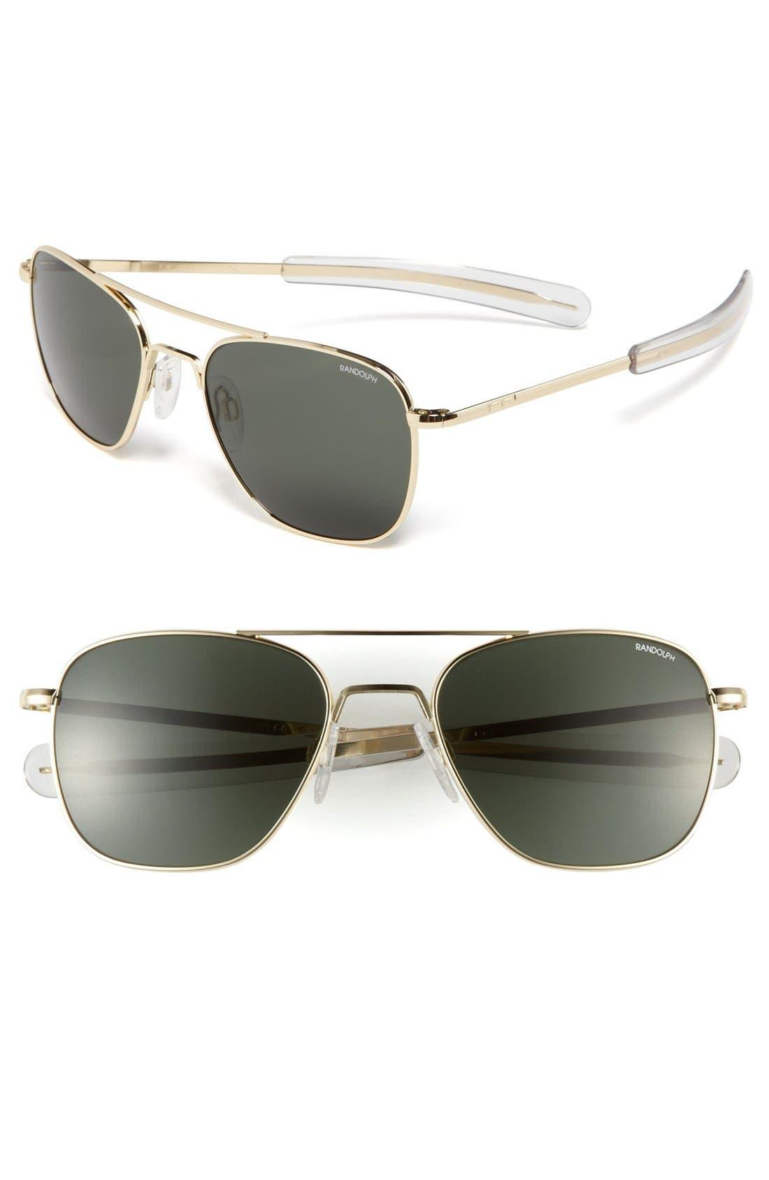 55mm Aviator Sunglasses,                         Main,                         color, Gold/ Agx
