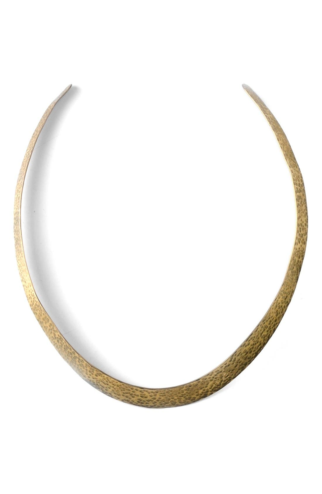 Hammered Plate Collar Necklace,                             Main thumbnail 1, color,                             Brass