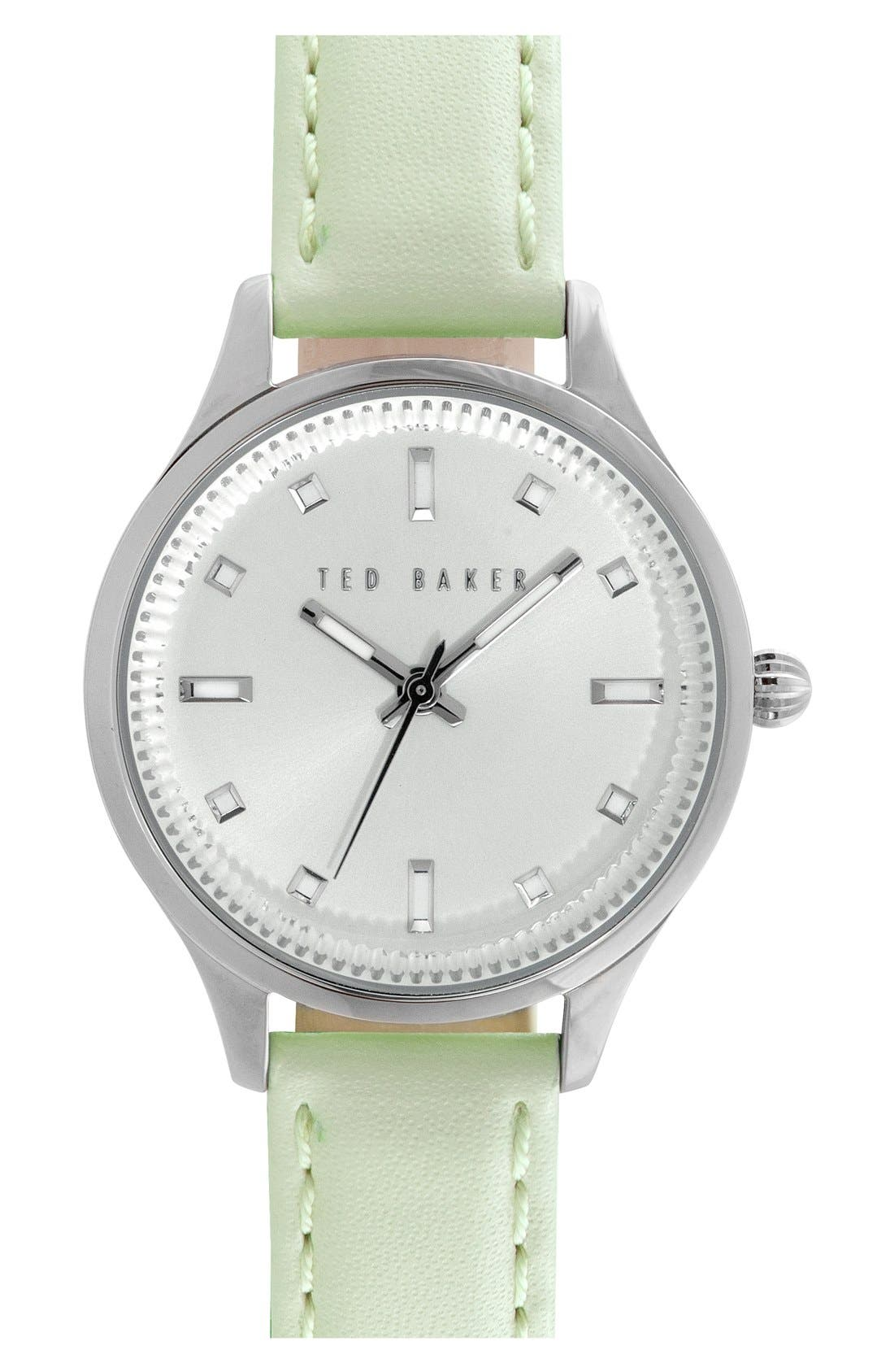 'Dress Sport' Leather Strap Watch, 32mm,                             Main thumbnail 1, color,                             Mint Green/ Silver